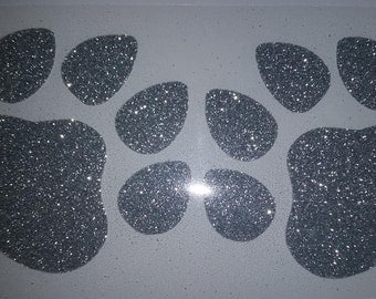 DIY Iron on glitter paw prints  set of 2