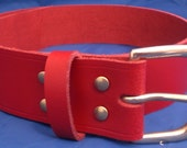 "Red Leather Belt 1 1/2"" Wide (38mm) with Choice of Buckle and Sizes Handmade Real Leather"