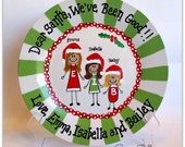 Personalized Christmas Plate / Hand Painted / Dear Santa We've Been Good Cookie Plate
