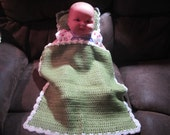 Green and White Baby Doll Blanket and Pillow Set
