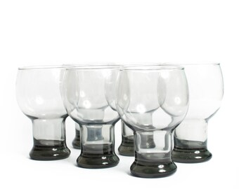 Vintage Modern Smoked Glass Goblets