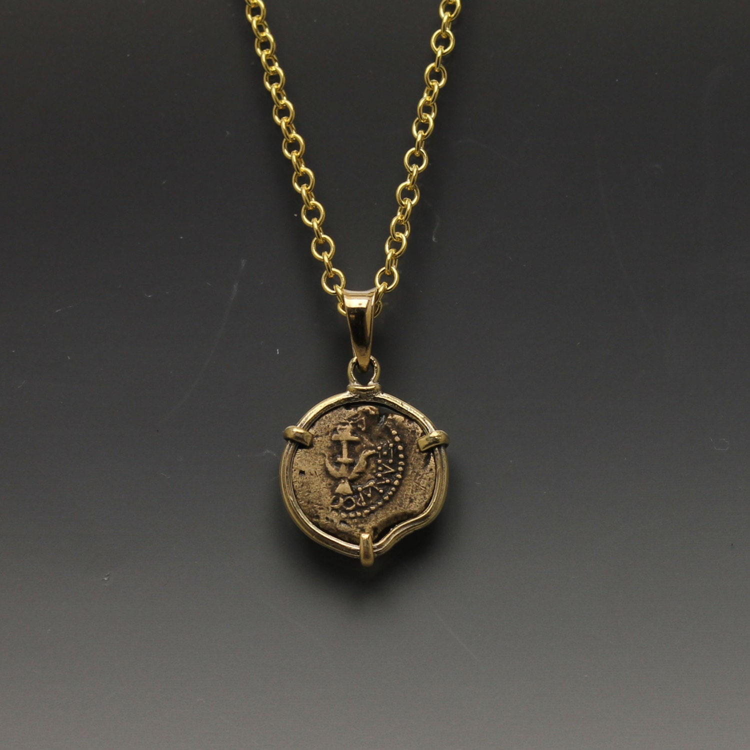 ancient coin necklace 14 karat gold pendant with gold plated