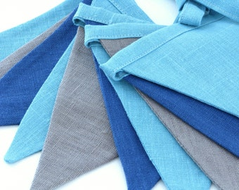 Bunting / Fabric Flag Banner / Pennant Nursery / Porch / Patio Decor / Photo Prop / Blue / Teal / Brownish
