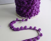 Purple Small Baby Pom Pom Bobble Trim 8mm wide pom poms - by the metre - UK SELLER