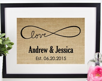 Love Infinity Sign | Burlap Print | Personalized Wedding Gift for Couple | Engagement Gift | Rustic Wedding Decor | Bridal Shower | Forever