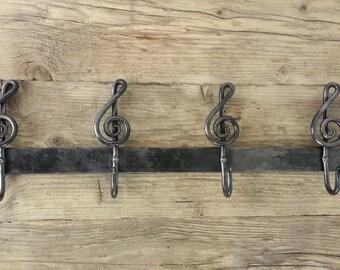 Coat Hooks - Treble Cleff Hook Bar - Blacksmith Hand forged