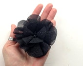 Organza flower brooch or hair piece, satin flower, handmade accessory, black upcycled fabric, free shipping