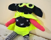 Quirky and Unique Superhero Sock Animal Puppy, Hand-stitched, Made from all Reclaimed Clothing, Plush Softie, Hipster, Sustainable, OOAK