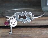 Silver Bracelet Graduation Gift Charm Bracelet Personalized Class of 2016 College Graduation Lock And Key