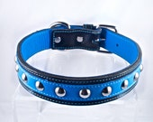 Custom Blue Leather Dog Collar ON SALE