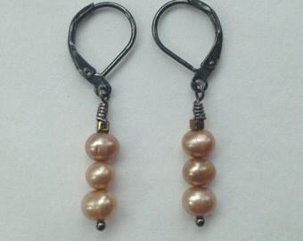 Triple Creamy Freshwater Pearl Earrings