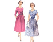 1950s Cocktail Dress Pattern Advance 6378, Ruched Surplice Bodice, 3/4 or Short Shirred Sleeve, V-Neck, Vintage Sewing Pattern Bust 32