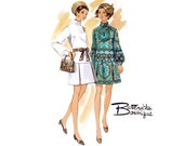 1960s Mini Dress Pattern Butterick 5470, Drop Waist Pleated Skirt, Standing Collar, Long Sleeve, 1969 Vintage Sewing Pattern Bust 31.5