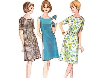 1960s Dress Pattern McCall's 7647, Mod A-Line Dress, Optional Belt & Collar, Plus Size Dress, 1964 Vintage Sewing Pattern Bust 39 Uncut