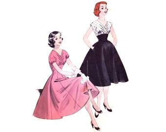 1950s Dress Pattern Butterick 7251, Empire Waist, Pleated Surplice Neckline, Puff Sleeves, Full Skirt, Vintage Sewing Pattern, Bust 30