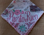 Map hankie, Puerto Rico map hankie, vintage hanky, handkerchief, vintage handkerchief, 1950's collectable handkerchief