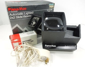 Pana-Vue Slide Viewer, 2X2 Automatic Lighted Viewer, camera, electronic slide projector, photos, vintage
