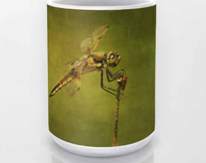 4 Spotted Skimmer Dragonfly coffee mug, Photography, Photo Mug, Unique Mug, Nature