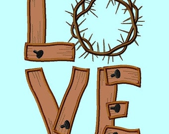 LOVE with Thorn crown Applique Embroidery Designs 5sizes INSTANT DOWNLOAD