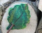 felt oak leaf hair stick: fairytale hair accessory