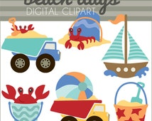 Beach Clip Art -Personal and Limited Commercial Use- sailboat and crab clipart - Instant Download