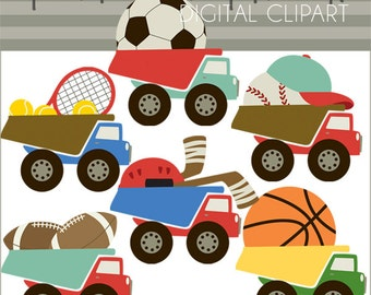 Sports Clipart -Personal and Limited Commercial Use- Basketball, Soccer, Football Dump Truck Clip art