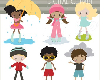 Weather Clip Art -Personal and Limited Commercial- Children in Weather Clipart