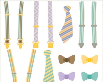 Suspenders and Ties Clip Art Set -Personal and Limited Commercial Use- teal suspenders, brown bowtie, striped tie clipart