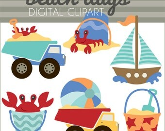 Beach Clipart -Personal and Limited Commercial Use- sailboat and crab clip art, beach clipart