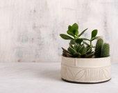 White Ceramic Succulent Planter , Modern  Ceramic Planter , Wide Succulent Planter , Home Decor Ceramic Bowl, READY TO SHIP