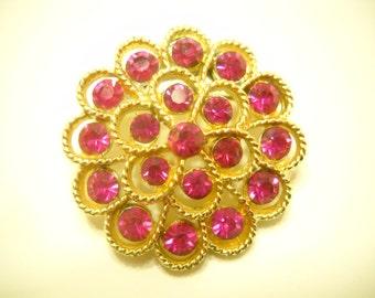 Vintage Pink Topaz Rhinestone Brooch (6623)