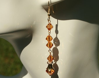 Victorian Style Dangle Earrings Topaz Swarovski Crystals Wedding Special Occasion Handcrafted Handmade
