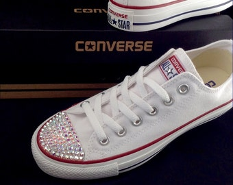 White Wedding Converse Kicks Ladies Mens Custom Canvas Low Top w/ Swarovski Crystal Bling Rhinestones Chuck Taylor All Star Sneakers Shoes