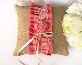 Burlap Ring Pillow, Ring Bearer Pillow, Coral, Peach, Ombre, Ring Bearer, Rustic, Country Barn Wedding
