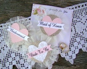 Bride To Be Pin, Bride Badge, Bridal Shower Corsage, Heart, Bachelorette Party Pins, Hen Party Pins, Wedding Party Badges, Blush, GoLd