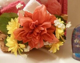 Towel Holder, Guest Towel Holder, Bathroom Decor, Decorator Basket, with Crimson Daliah and Yellow Daisies