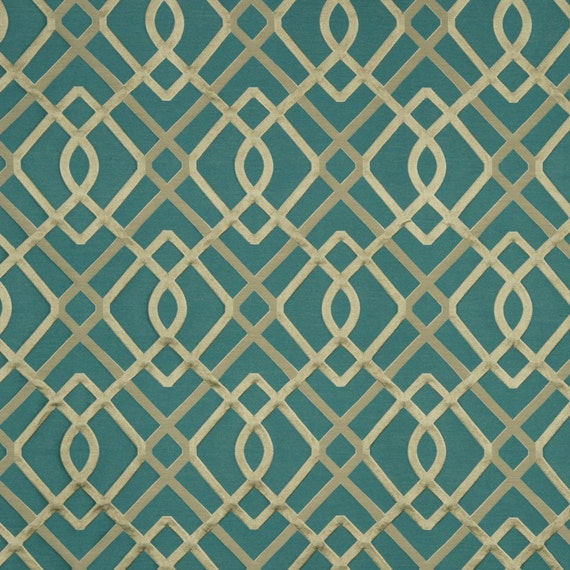 Modern Teal Geometric Upholstery Fabric Textured Teal Ivory