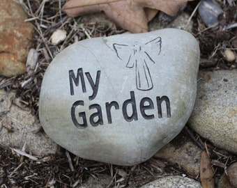 My Garden with Angel engraved stone