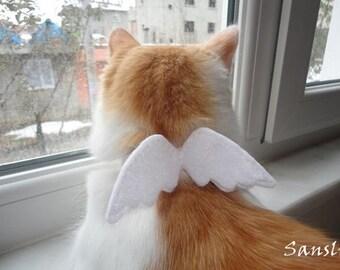 Cat collar-adjustable collar-custom collar-crochet cat collar-cat accessories-angel-Adjustable cat collar white with Bell