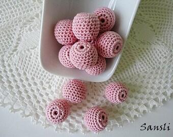 12 pcs - 16 mm beads-crocheted bead-pink beads-round beads-crochet ball beads-beads crochet-embellishment-wooden crochet cotton yarn beads