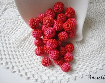 12 pcs-10 mm beads-crocheted bead-red,pink beads-round beads-crochet ball beads-beads crochet-embellishment-wooden crochet cotton yarn beads