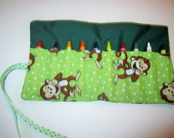 Monkey crayon roll - holds 10 crayons