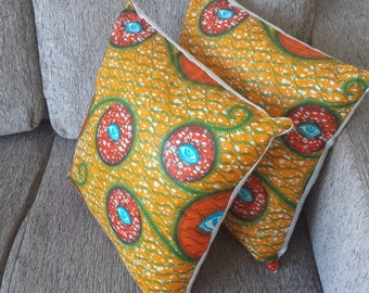 Set of 2 2-way Accent Pillow Throw Cushion cover vibrant African Ankara Kitenge print from West Africa - orange blue green - COVER ONLY