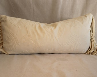 Pair of custom made, off-white decorative pillows. Off white lumbar pillows with fringe. Decorator pillows.