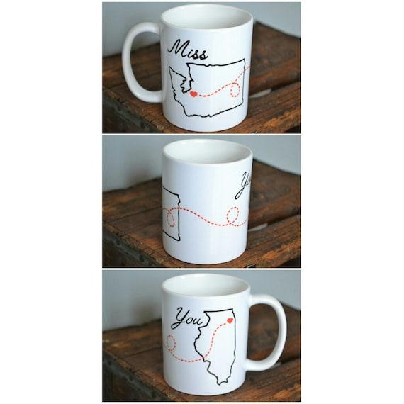 "Handmade ""Miss you"" Personalized State Mug - Custom Handmade Coffee Mug"