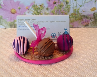 Polymer clay Business card holder,sweets,cake pops,chocolate, sweet shop card holder, chocolate strawberries,cupcakes, cake pop baker