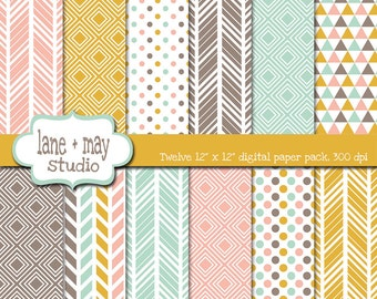digital scrapbook papers - coral pink, mint green, mustard yellow and brown tribal geometric patterns - INSTANT DOWNLOAD