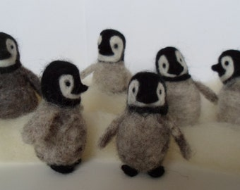 Baby Penguin Needle Felted Christmas Ornament