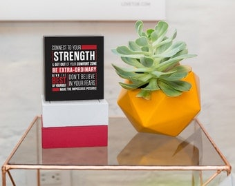 """Connect To Your Strength Inspirational Mini Wood Box Signs by [LOVE TO BE] 4.3"""" x 4.7"""" Quotes and Typography Wall Décor. Handmade w/ Love"""
