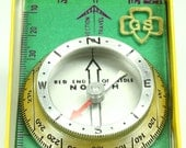 Vintage Girl Scouts Troop Official Field Compass - Yellow Green